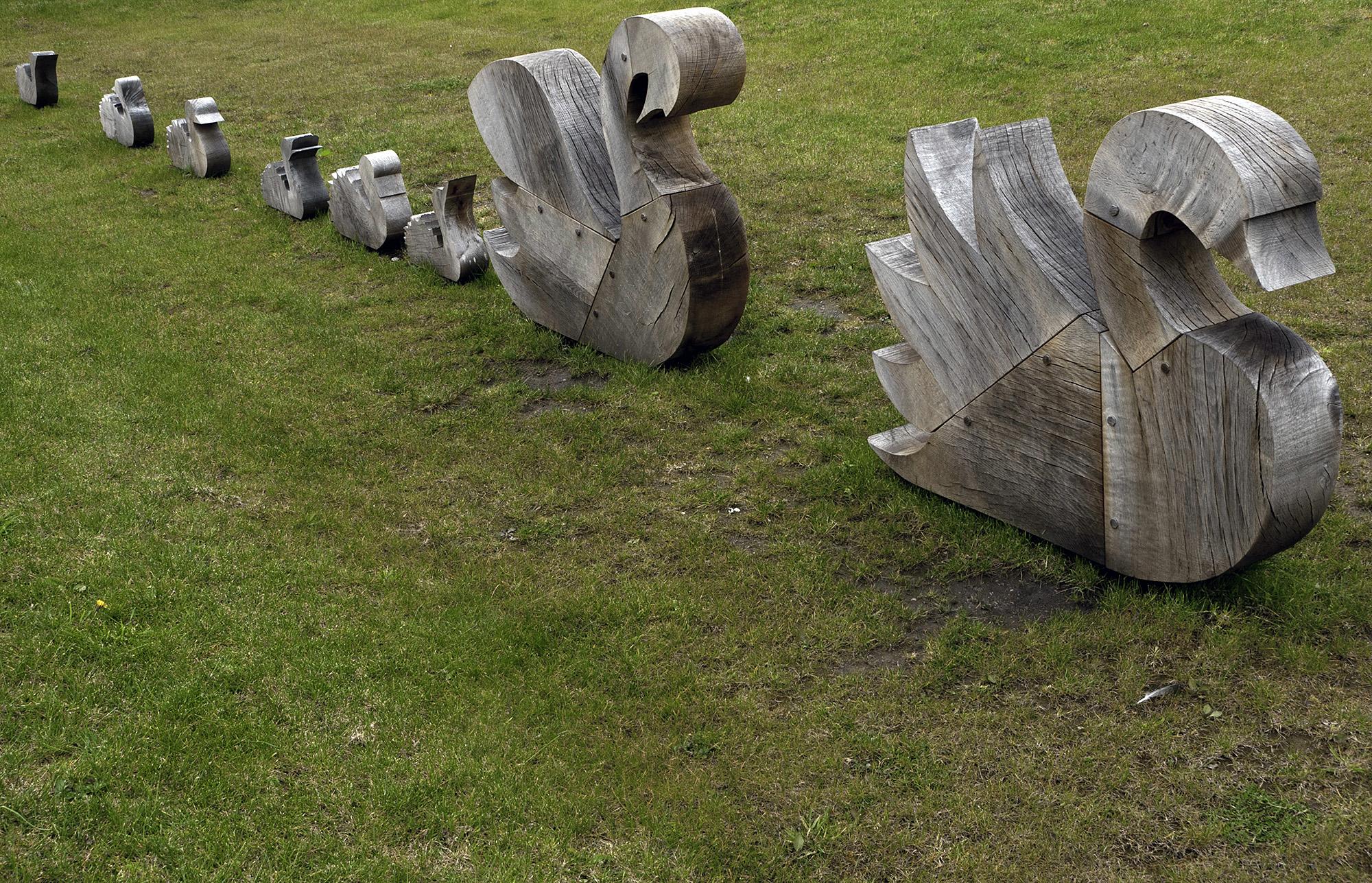 Wooden Swam Sculptures