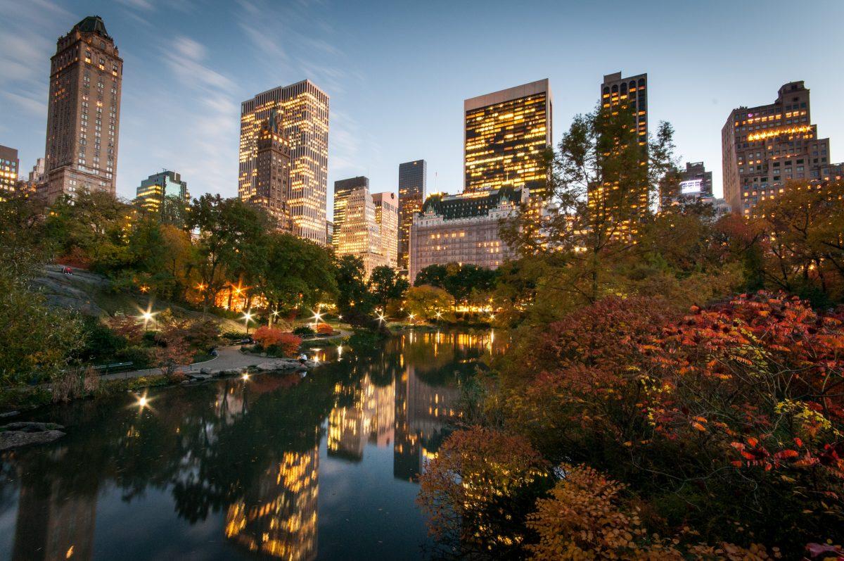 Central Park Pond at dusk