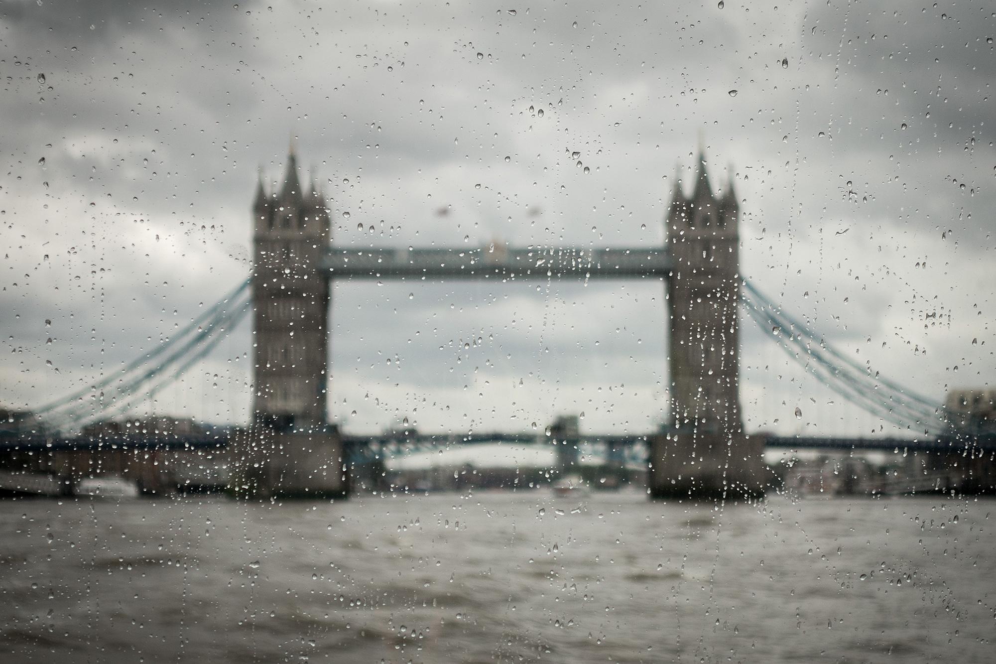 Rain at Tower Bridge London